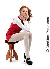 bello, sexy, ragazza, sedia, seduta