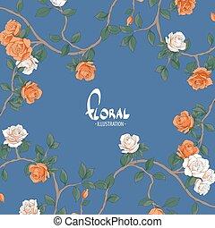 bello, sfondo blu, rose