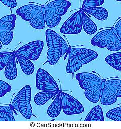 bello, sfondo blu, seamless, butterfly.