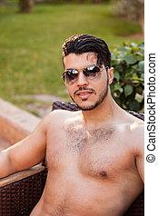 bello, shirtless, uomo