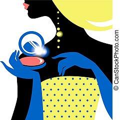 bello, silhouette, donna, moda