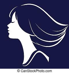 bello, silhouette, illustrazione, faccia, vettore, ragazza