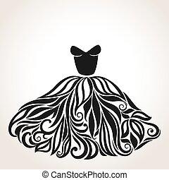 bello, silhouette, isolato, indietro, elegante, vettore, vestire