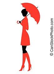 bello, silhouette, ragazza, ombrello
