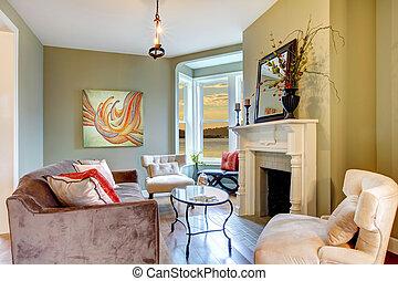 bello, soggiorno, elegante, verde bianco, fireplace.