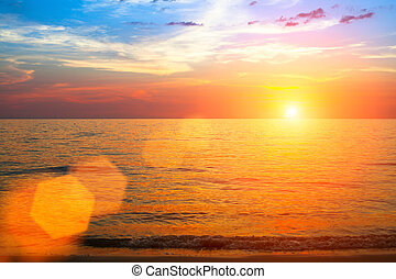 bello, sopra, tramonto, ocean.