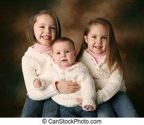 bello, sorelle, tre, giovane