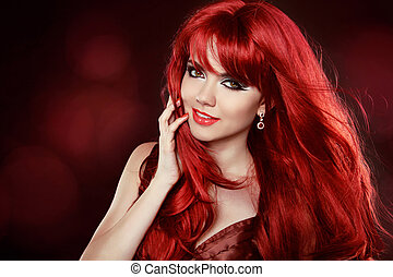 bello, sorridente, sano, capelli lunghi, hair.hairstyle., ondulato, makeup., make-up., ritratto, pretty., woman., ragazza, rosso, felice