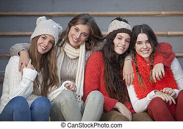 bello, sorrisi, adolescenti, moda, inverno