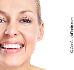 bello, sorriso, woman., teeth.