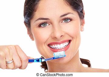 bello, spazzolino, donna, sorriso
