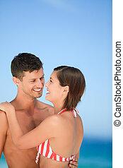 bello, spiaggia, coppia