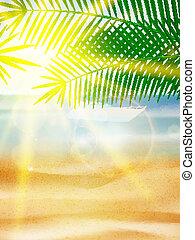 bello, spiaggia, vista, su, giorno pieno sole, con, sand.