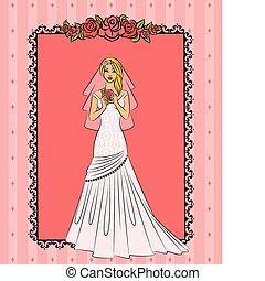 bello, sposa, illustrazione