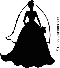 bello, sposa, silhouette