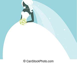 bello, sposa, vestito bianco