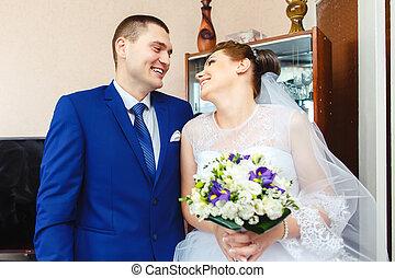 bello, sposo, riunione, il, bellezza, sposa