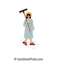 bello, standing, donna, giardino, lavorativo, fattoria, vestito, giovane, illustrazione, rastrelli, vettore, ragazza, vestire, o, cappello