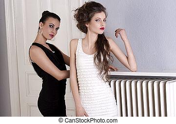 bello, standing, moda, vecchio, modelli, interno, due, capelli, elegante, strabiliante, proposta, attraente, stili, porta, pose, vestire, galleria
