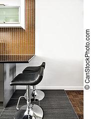 bello, stanza moderna, contatore, sgabelli, interno