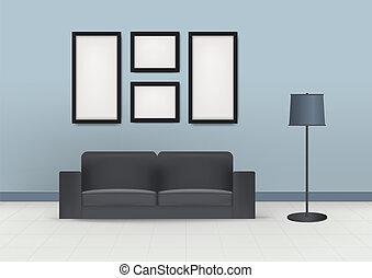 bello, stanza, moderno, interno, casa, disegno