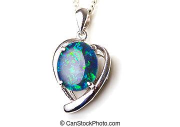 bello, sterlina, pietra, gioielleria, cuore, opale, isolato,...