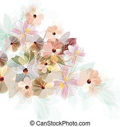 bello, stile, astratto, illustrazione, acquarello, fiori