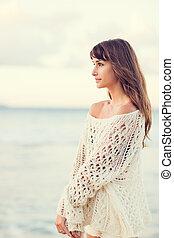 bello, stile di vita, donna, giovane, moda, spiaggia...