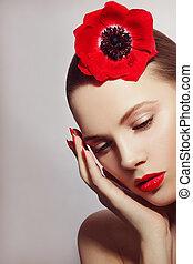 bello, stile, donna, rossetto, lei, vendemmia, giovane, capelli, fiore, ritratto, rosso