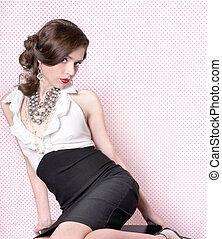 bello, stile, donna, vendemmia, retro, sensuale