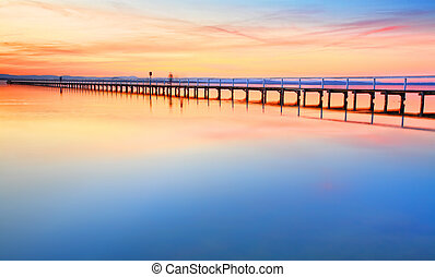 bello, strabiliante, tramonto, a, lungo, molo, australia