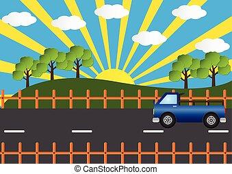 bello, strada, illustration., automobile, vettore, camion, paesaggio, paese, sole, ray.