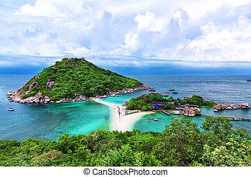 bello, tao, tailandia, spiaggia, koh