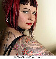 bello, tatuaggio, goto