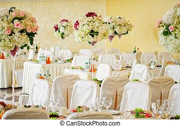 bello, tavola, fiori, matrimonio