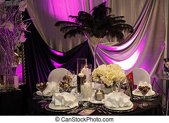 bello, tavola, set, per, matrimonio