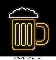 bello, tazza, vetro, rinfrescante, spazio, testo, astratto, birra, neon, ardendo, giallo, fondo., luminoso, vettore, nero, delizioso, fresco, copia, schiumoso