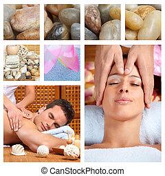 bello, terme, massaggio, collage.