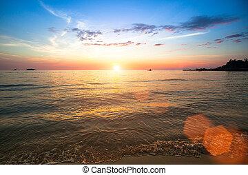 bello, thailand., spiaggia, tramonto, mare