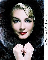bello, toned, donna, pelliccia, inverno, blu, coat.