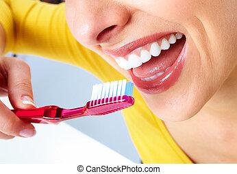 bello, toothbrush., donna