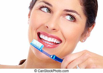 bello, toothbrush., donna, sorriso