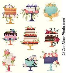 bello, torte, set, festivo, illustrazione, fondo., vettore, stand., bianco