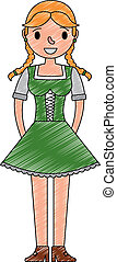 bello, tradizionale, bavarese, donna, vestire