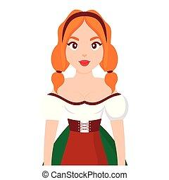 bello, tradizionale, bavarese, donna, vestiti