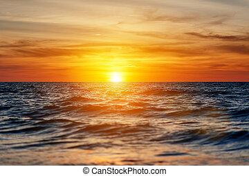 bello, tramonto, in, il, mare