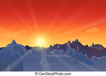 bello, tramonto, paesaggio
