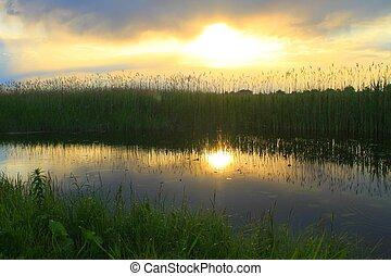 bello, tramonto, sopra, calma, lago