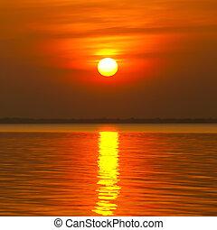 bello, tramonto, sopra, il, mare