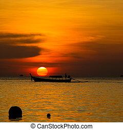 bello, tramonto, sopra, mare